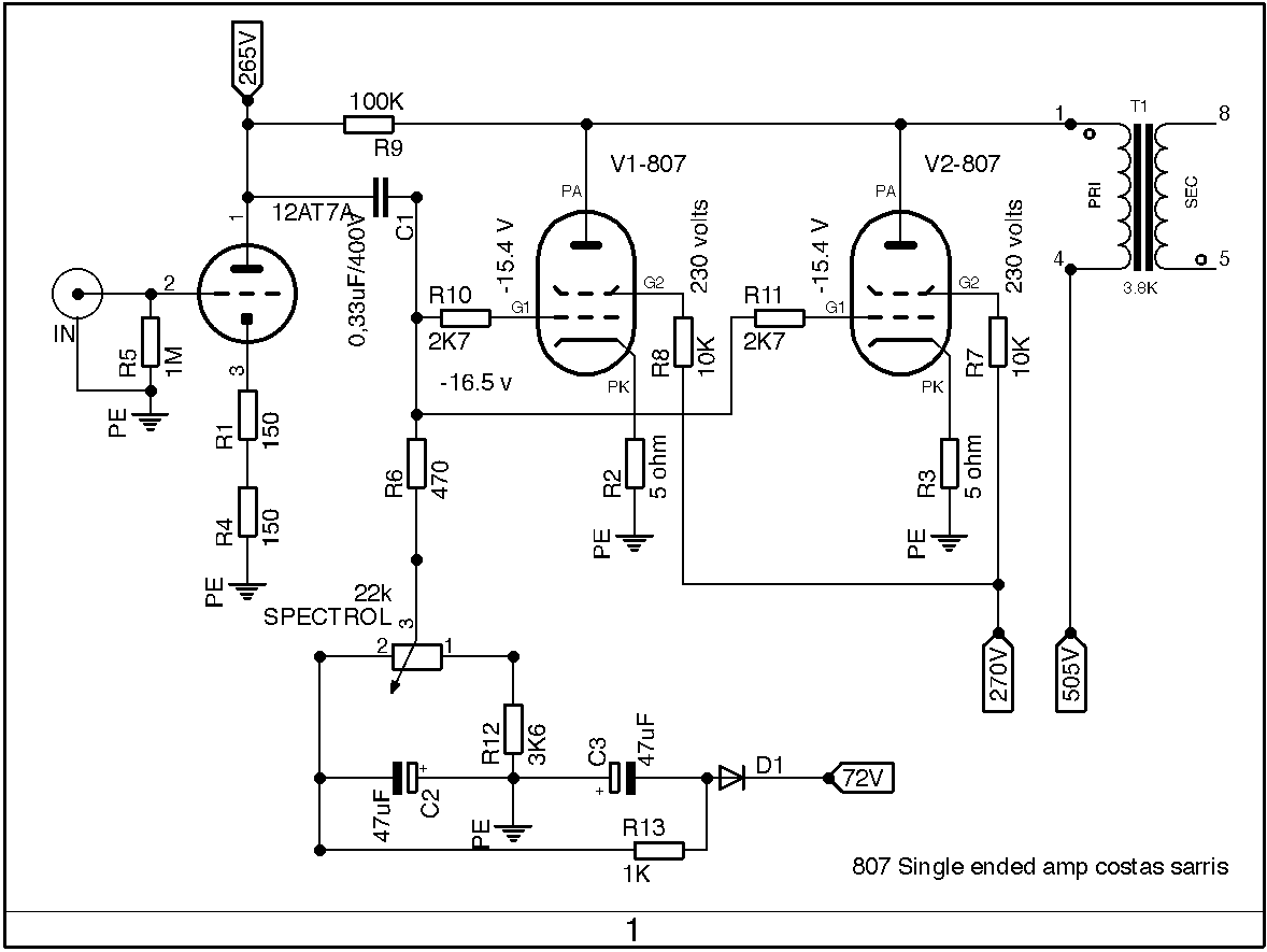 807 Single Ended Tube  s on transformer schematics