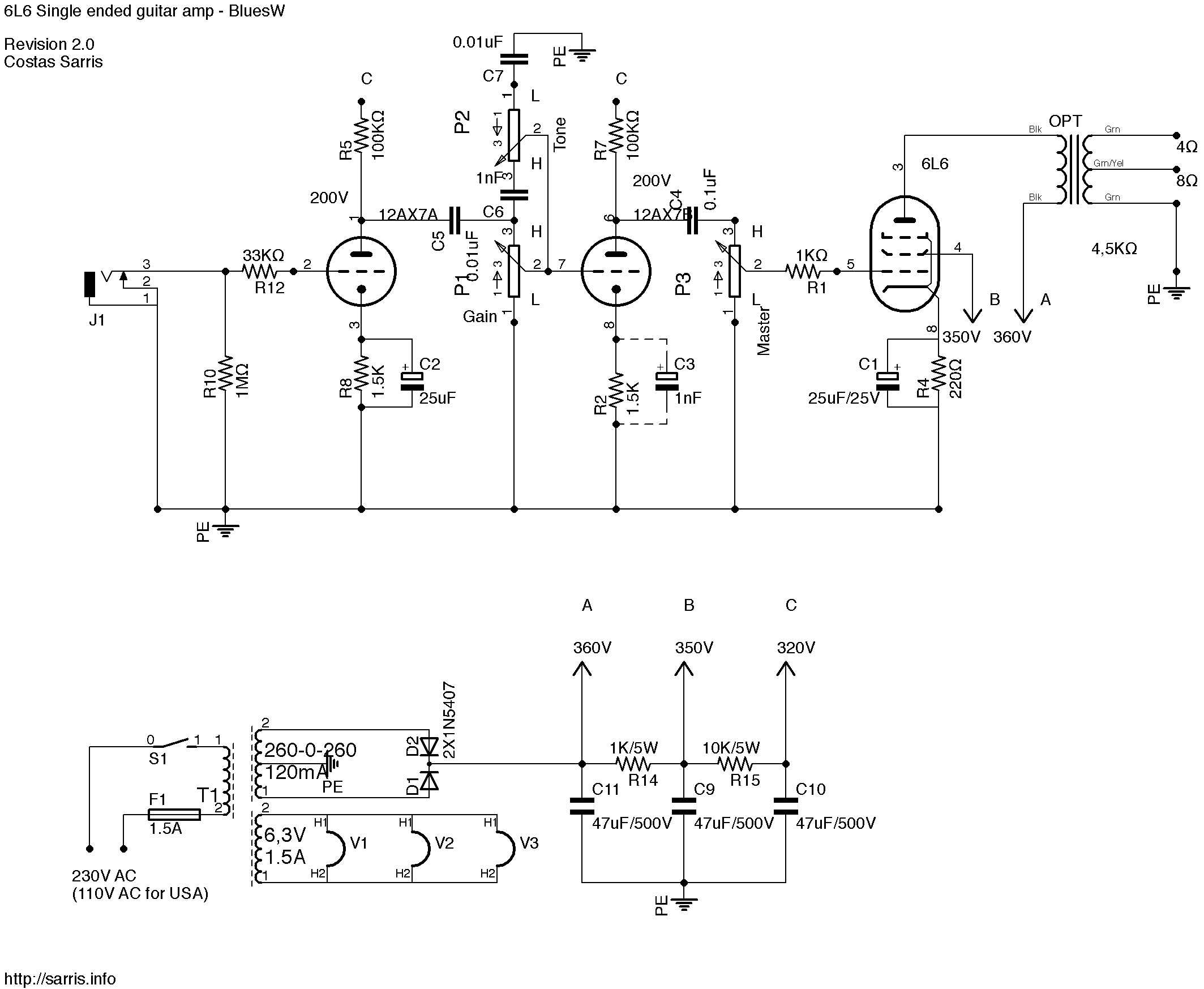6l6 tube amp schematics