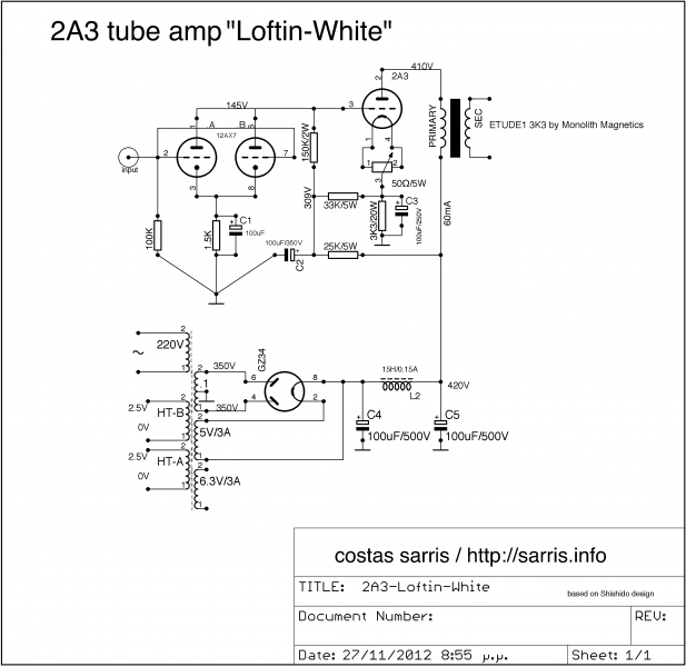 2A3 tube amp schematic loftin white